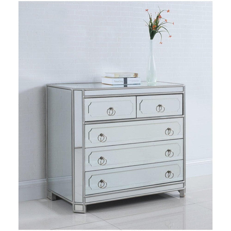 Simplicity Mirrored 5 Drawer Hall Chest