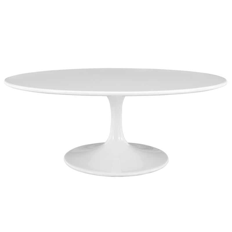 "Lippa 42"" Oval-Shaped Wood Top Coffee Table in White"
