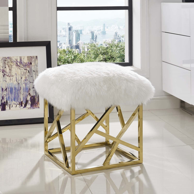 Intersperse Sheepskin Gold Frame Ottoman