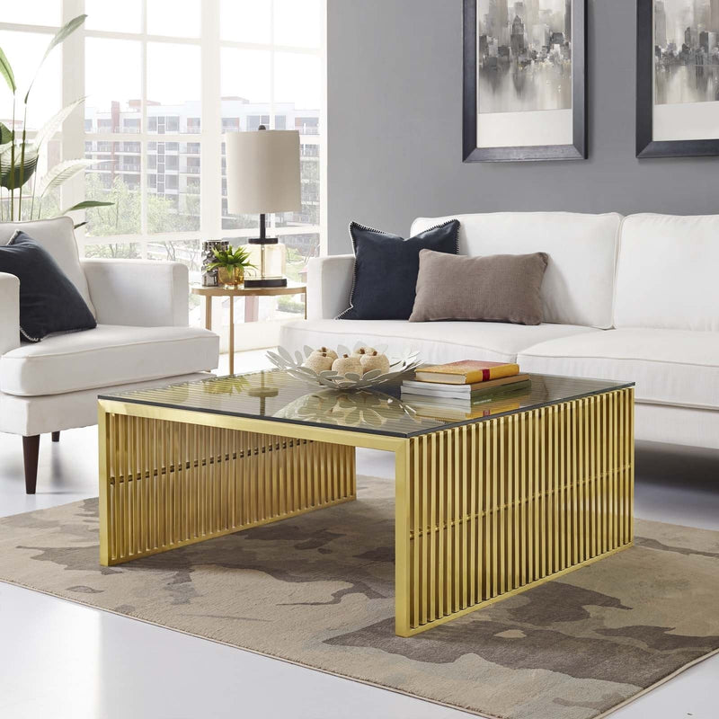 Gold Gridiron Coffee Table