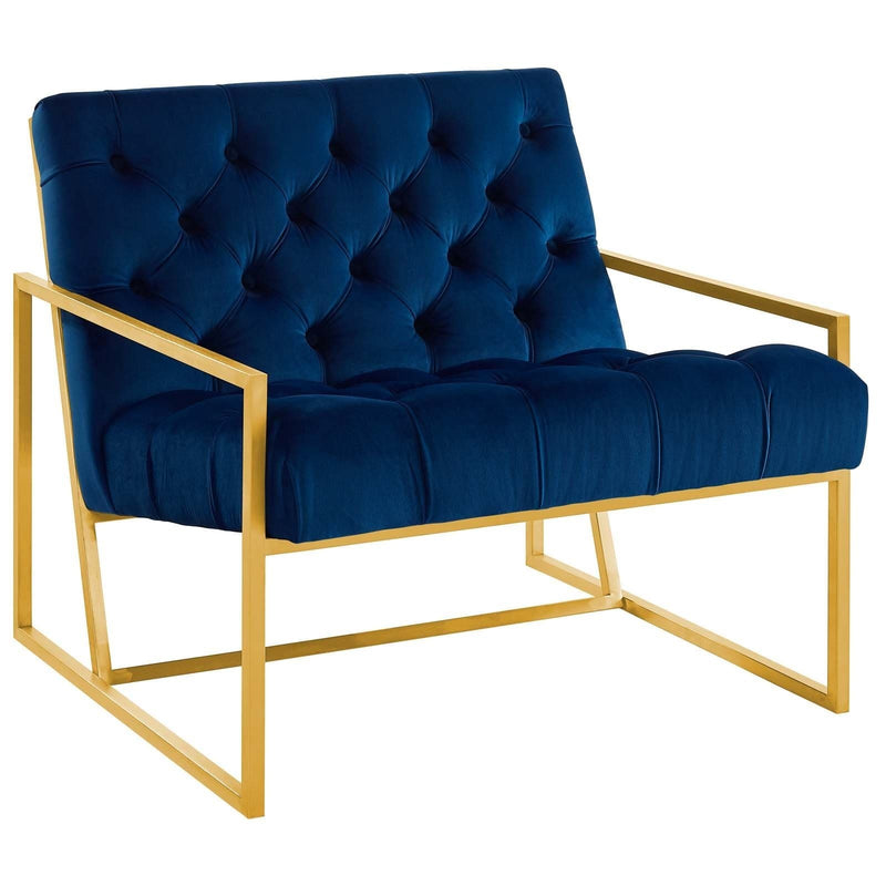 Bequest Velvet Gold Stainless Steel Accent Chair