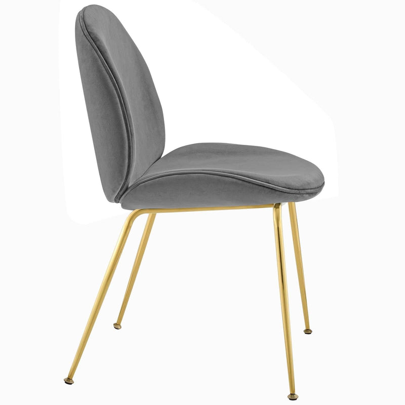 Scoop Gold Legs Velvet Dining Chair