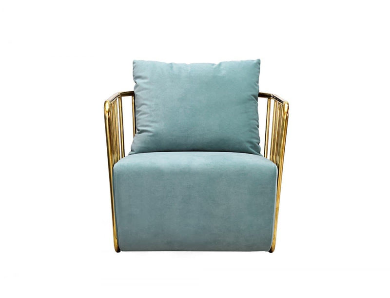 Voss Modern Blue Velvet & Gold Accent Chair