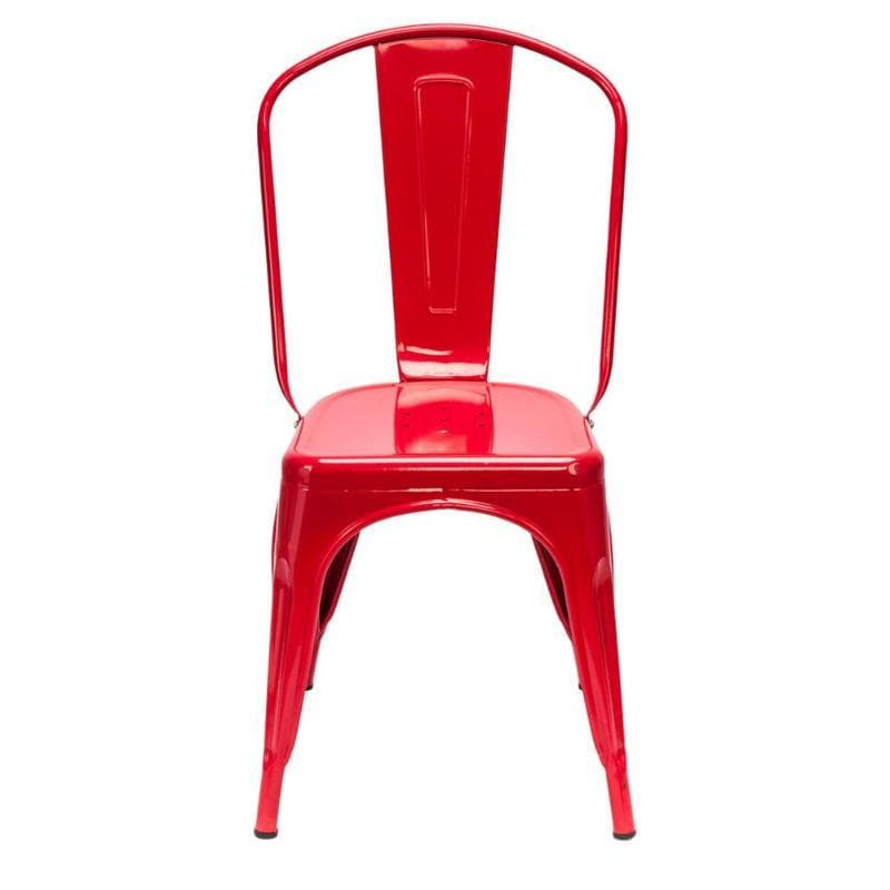 Lucie Backrest Red Steel Dining Chairs (Set of 4)