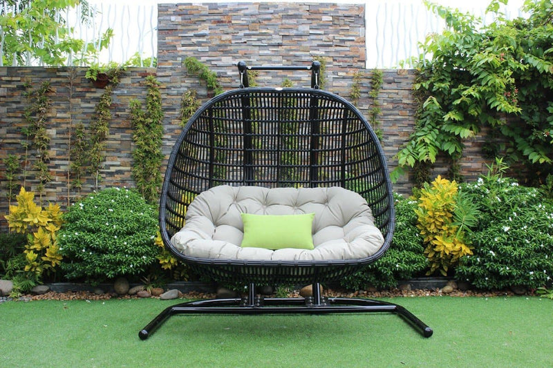 Renava San Juan Outdoor Black & Beige Hanging Chair