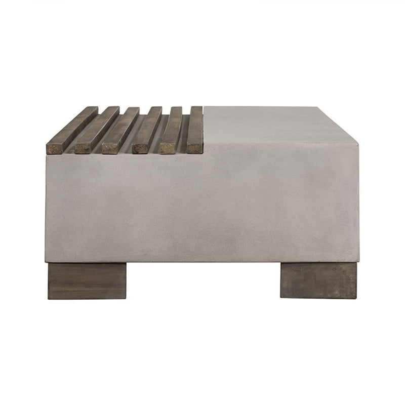 Modrest Delaware Modern Concrete & Acacia Rectangular Coffee Table