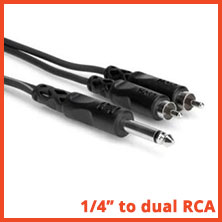 "Single TS 1/4"" to dual RCA Male adapter cable - CYR-102"