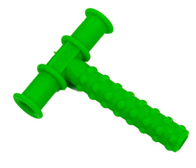 Chewy Tube - Green Knobby -  designed to provide a safe resilient, non-food, chewable surface for practising biting and chewing skills