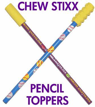 Pencil Toppers Yellow Plain - Chew Stixx
