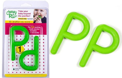 Chewy Ps in a Pod (Smooth) Green - Stage 1 Teether - These two fun green Chewy Ps offer a smooth flexible surface perfect for new gums and sprouting teeth to practice biting and chewing skills.
