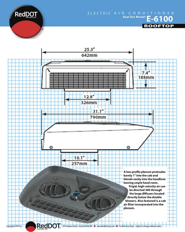 Red Dot AC Unit 12v Self Contained Rooftop Mount E-6100-0-12P