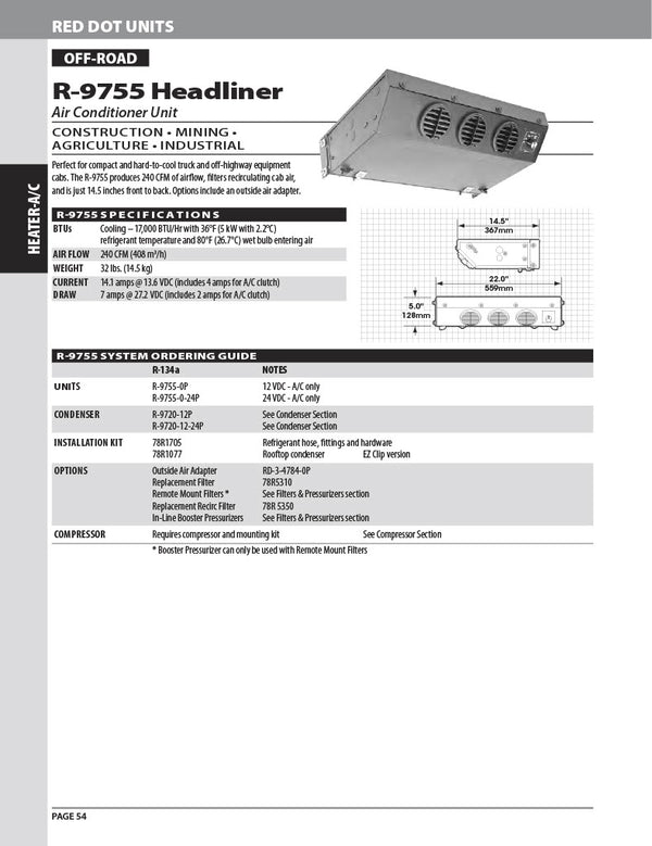 Red Dot AC Unit 24v Ceiling Mount R-9755-0-24P
