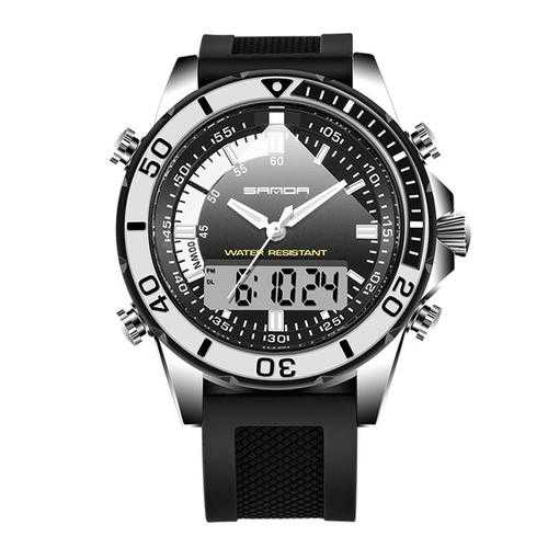 SANDA 003 Fashion Men LED Dual Display Watch Silicone Strap Swimming Diving Sport Watch