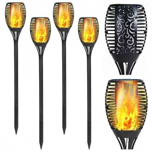 4 pcs Solar Waterproof Flickering Dancing Flame Lamp
