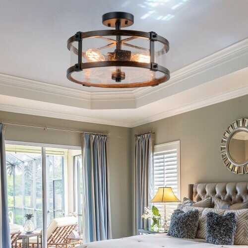 3-Light Living Room Retro Flush Mount Ceiling Light