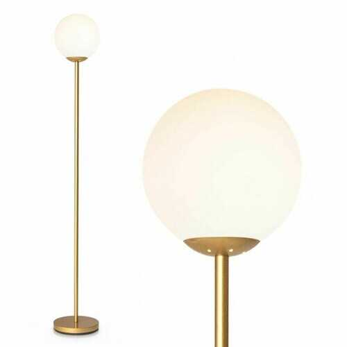 Glass Globe LED Floor Lamp w/ Acrylic Lampshade