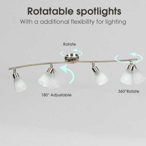 4-Light Track Light Rotatable Glass Shade Chandelier lamp