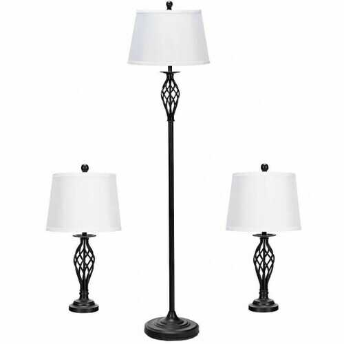 2 Table Lamps 1 Floor Lamp Set with Fabric Shades