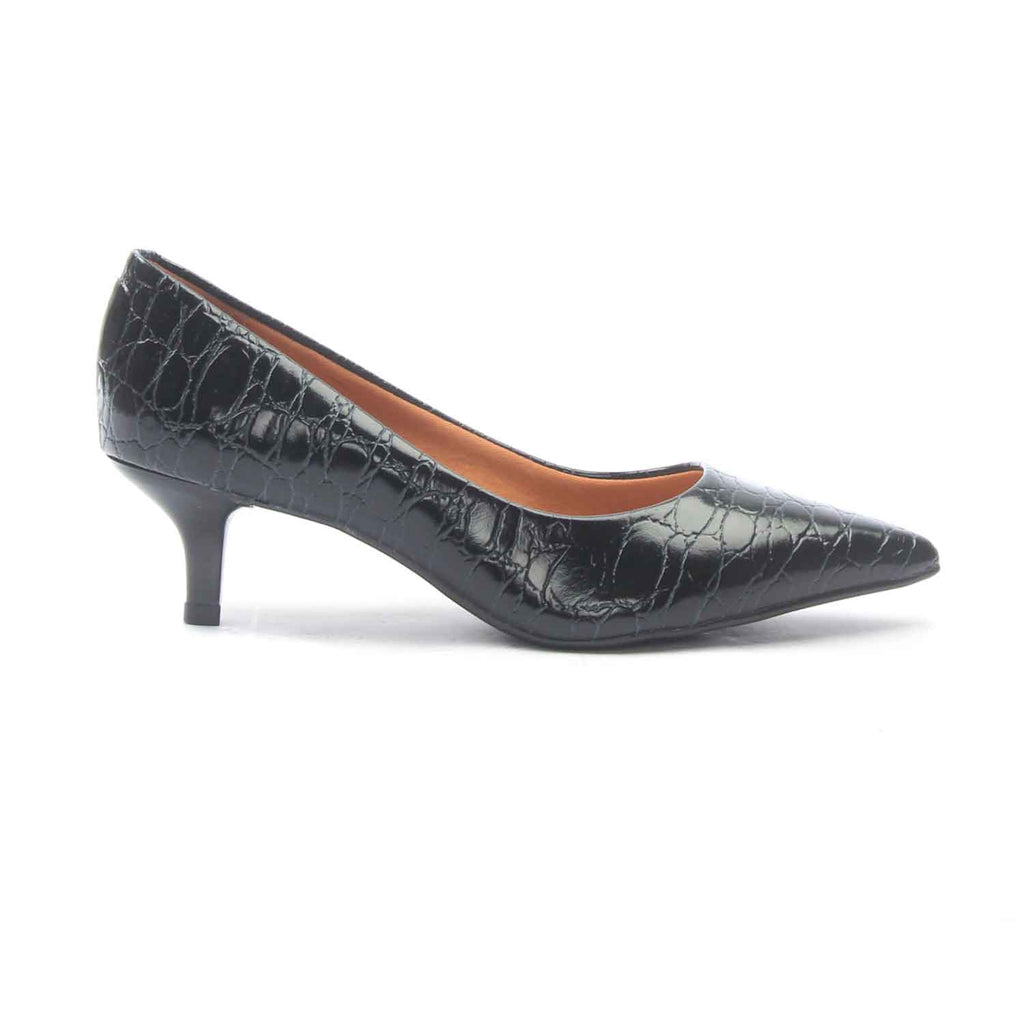 Women's Textured Kitten Heel Pumps - Black - Heels - Pavers England