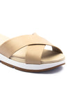 Women's Cross Strap Slippers-Beige - Open Mules - Pavers England