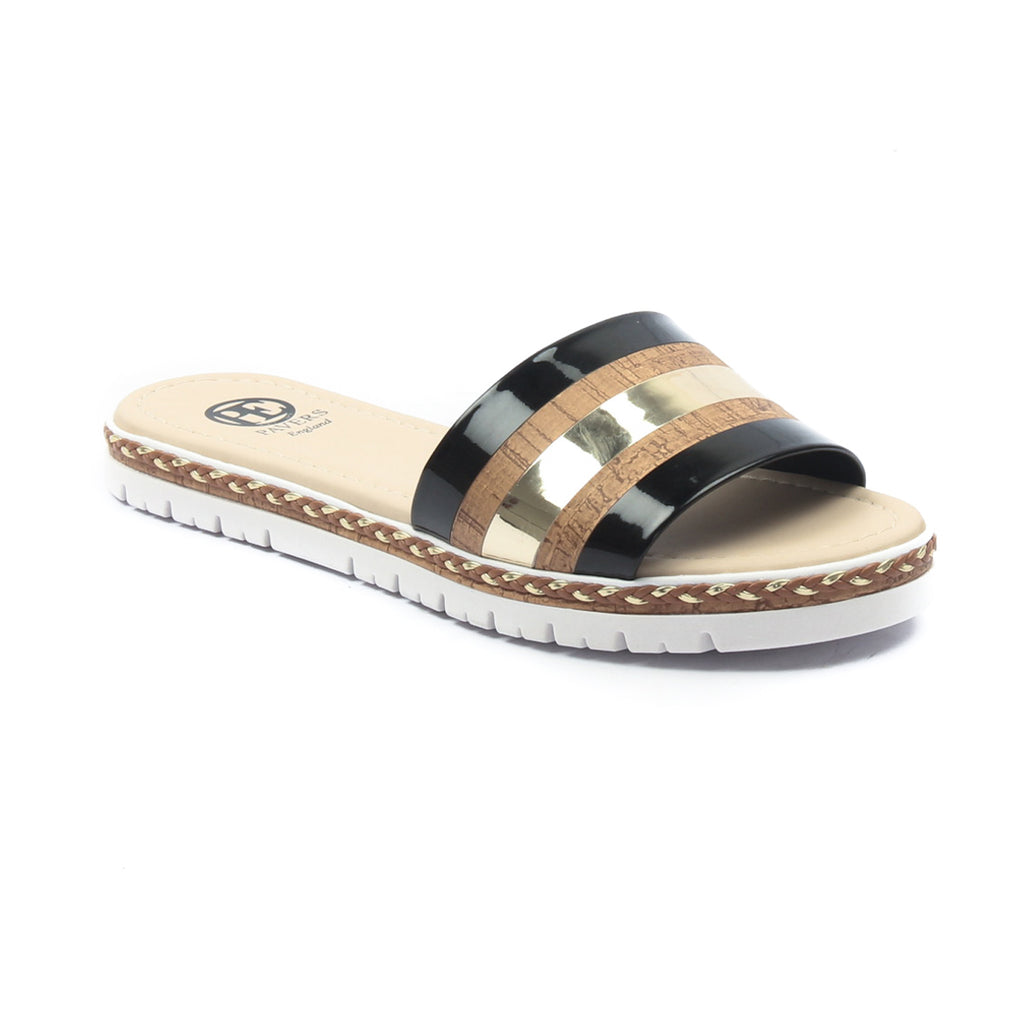 Women's Sliders-Black Multi - Open Mules - Pavers England