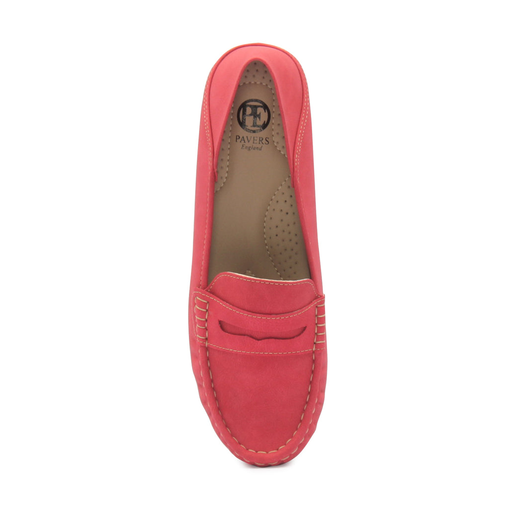 Women's Penny Loafers-Red - Full Shoes - Pavers England