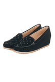 Women's Studded Loafers-Black - Full Shoes - Pavers England