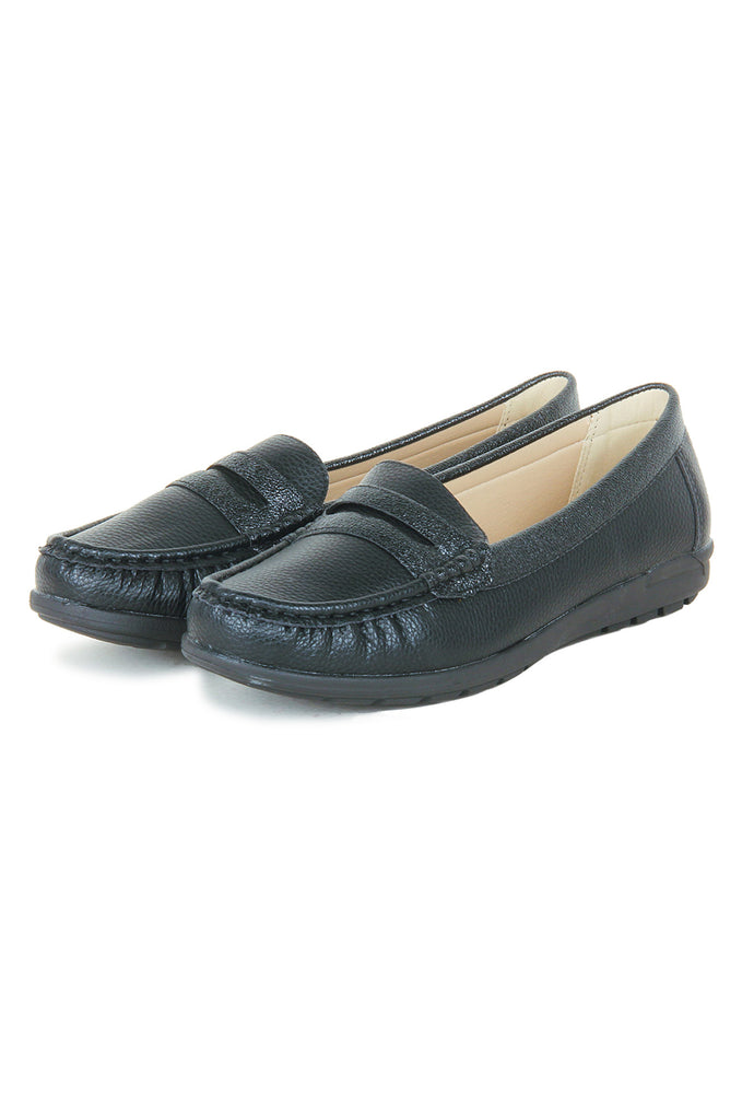 Women's Penny Loafers-Black - Full Shoes - Pavers England