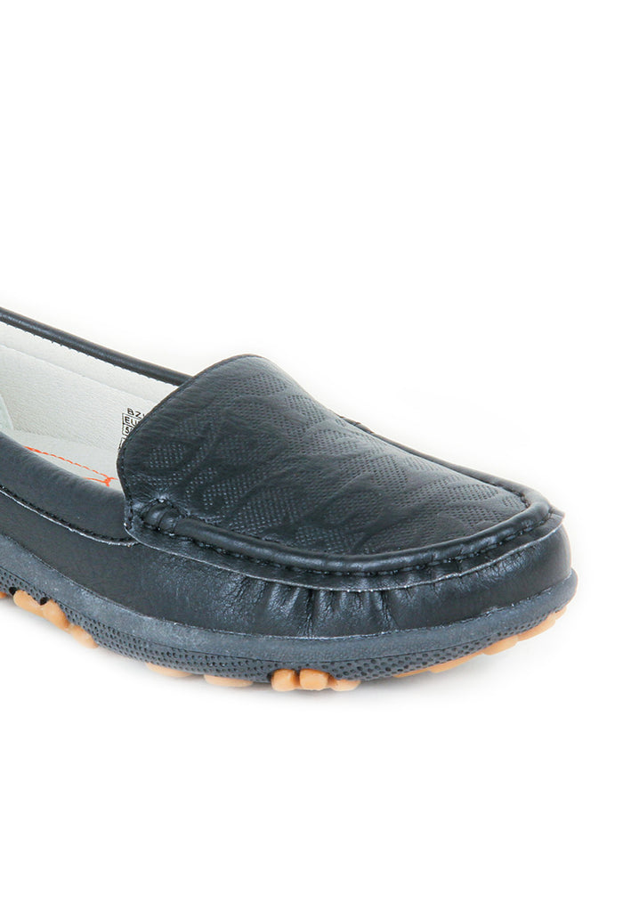 Women's Patterned Loafers-Black - Full Shoes - Pavers England