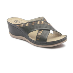 Women's Bing Embellished Wedges-Black - Mules - Pavers England