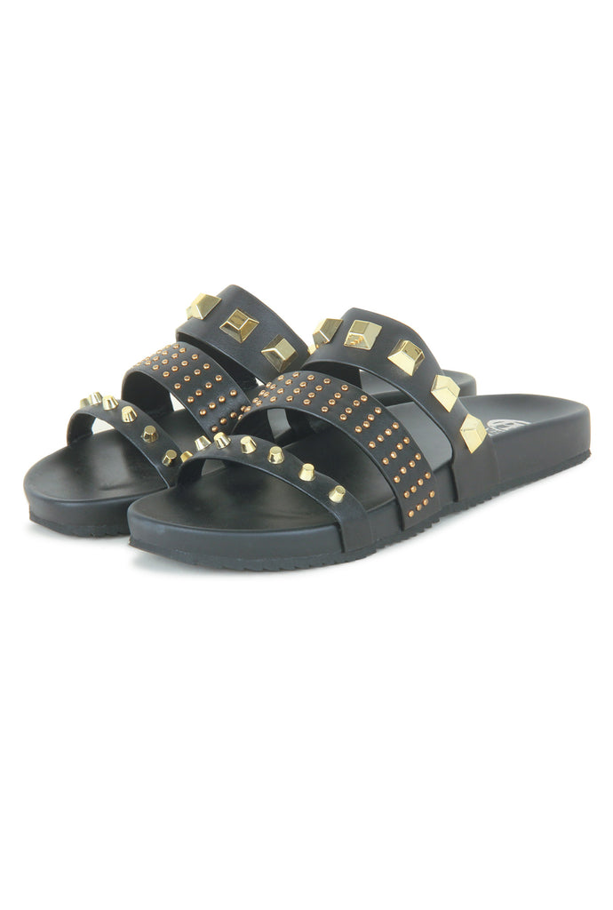 Women's Stud Embellished Sliders-Black - Mules - Pavers England