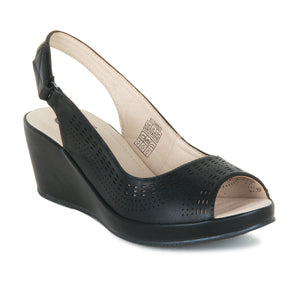 Sandal Heels with velcro fastening for women-Black - Sandals - Pavers England