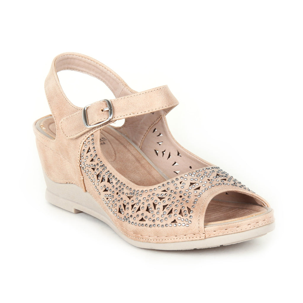 Sandal wedges with buckle fastening for women-Beige - Sandals - Pavers England