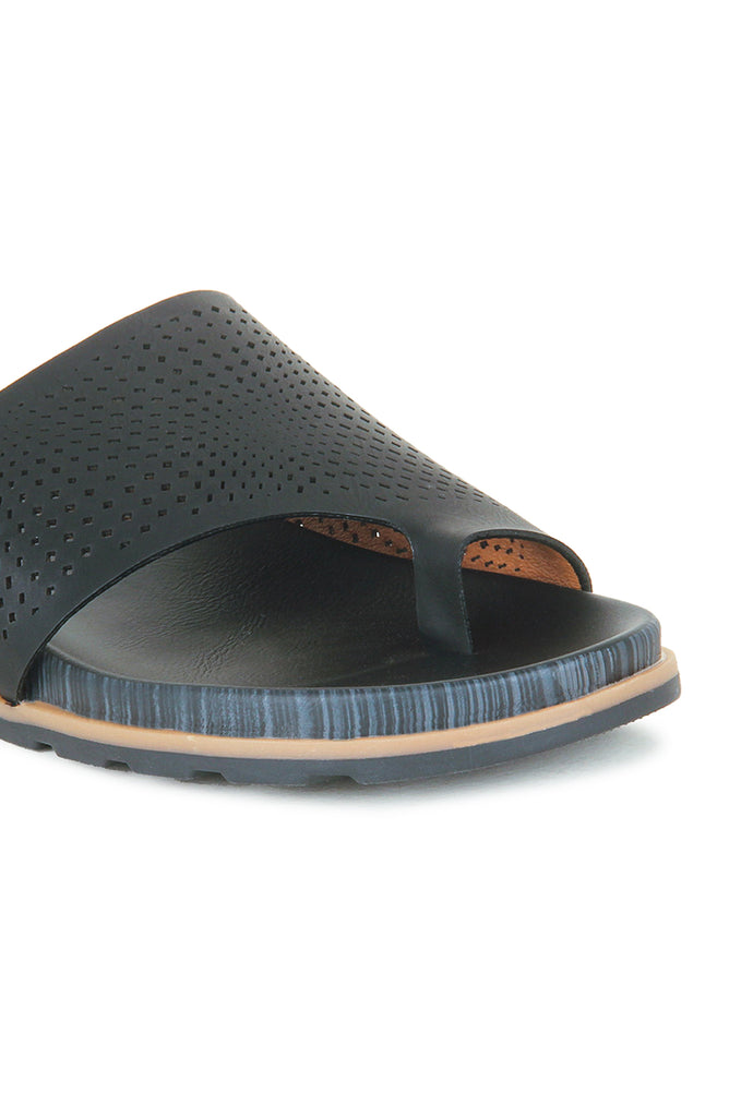 Women's Toepost Laser Cut Slippers-Black - Toeposts - Pavers England