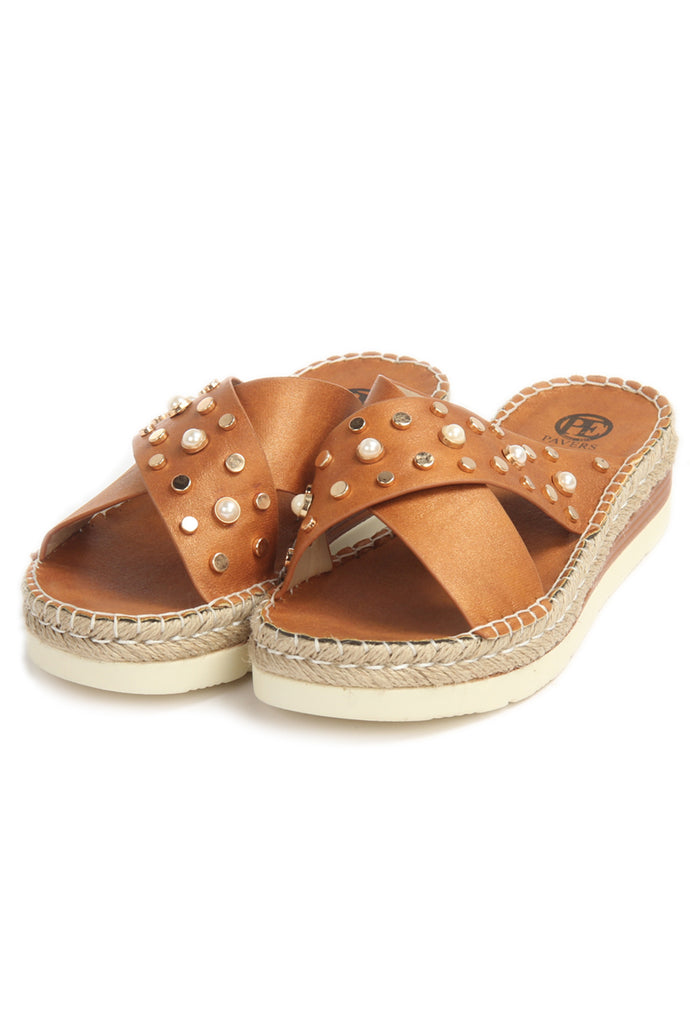 Jewel Embellished Mules for Women-Tan - Mules - Pavers England