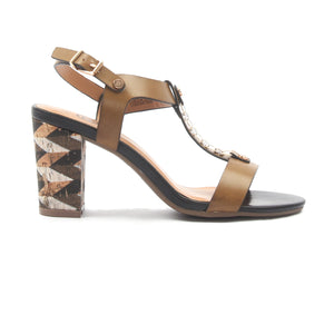 Women's T-Strap Block Heels - Beige - Wedding & Occasion - Pavers England