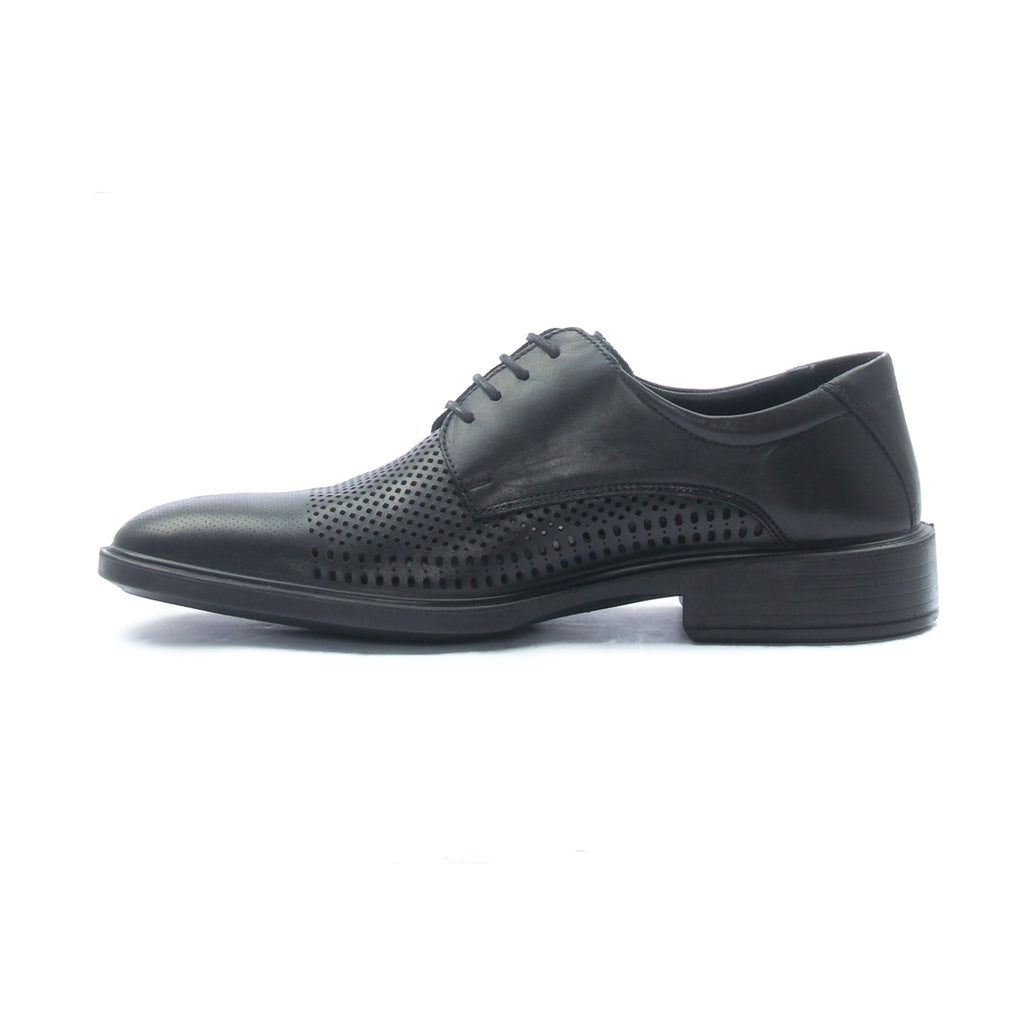 Men's textured leather lace-up shoes with low heel - Black - Laced Shoes - Pavers England