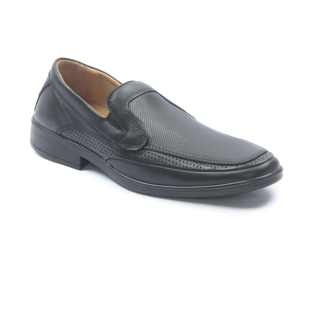 Men's leather loafer shoes with laser cut details - Black - Formal Loafers - Pavers England