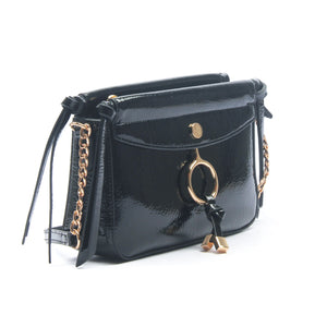 Women's Shiny Sling Bag-Black - Sling Bags - Pavers England