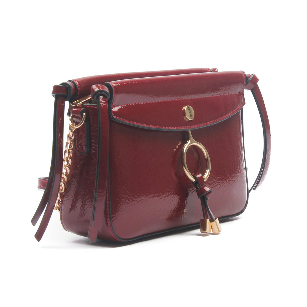 Women's Shiny Sling Bag-Burgundy - Sling Bags - Pavers England