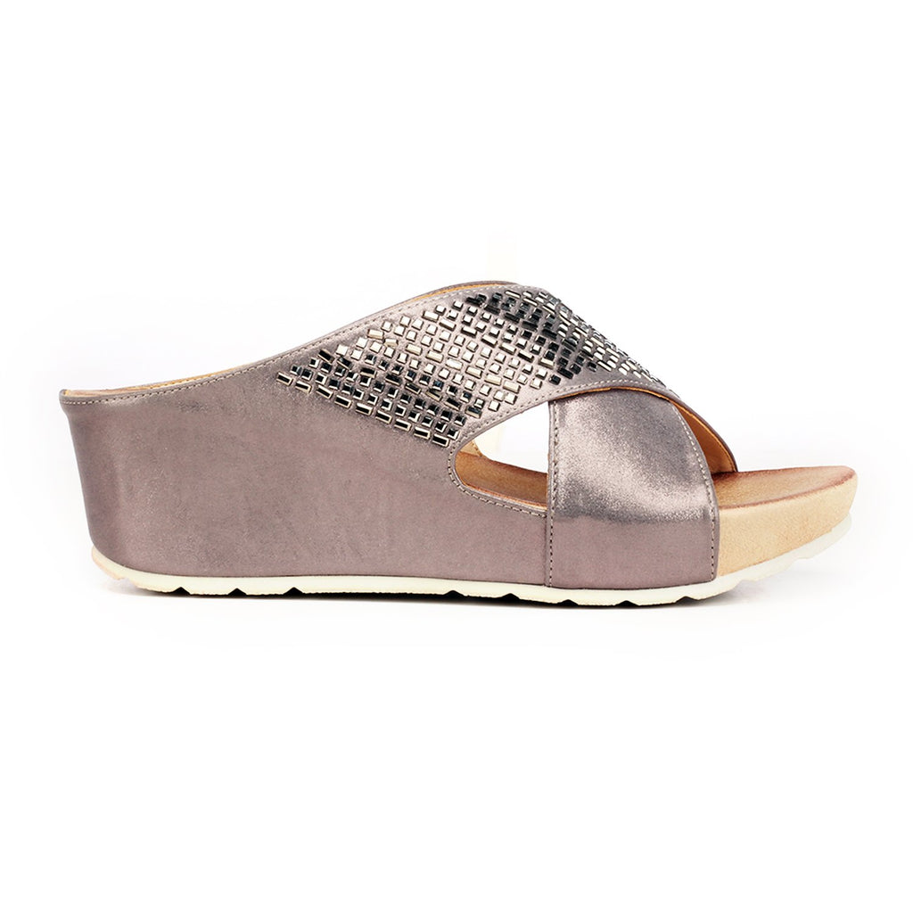 Jewel Embellished Mule Wedges for Women-Pewter