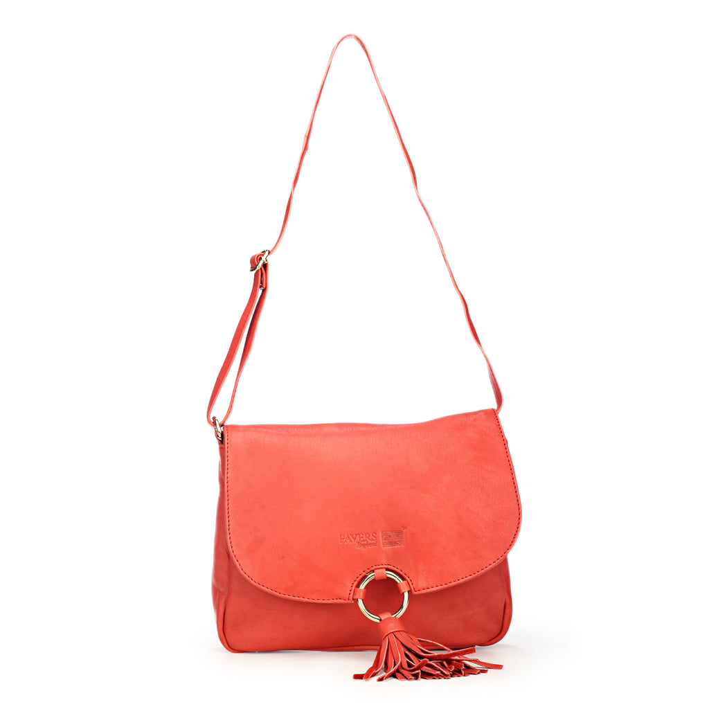 Stylish & Elegant Red Sling Bag with Tassels for Women