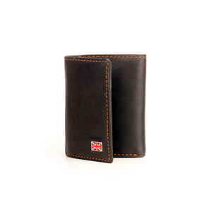 Black Formal/Casual Three-fold Leather Wallet For Men