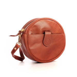 Stylish Leather Sling Bag For Women-Cognac - Sling Bags - Pavers England