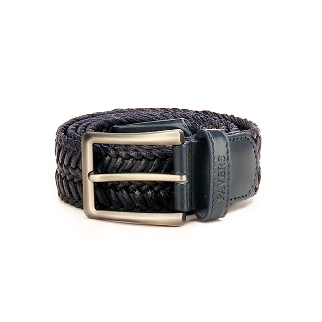 Braided Style Navy Leather Formal/Casual Waist Belt for Men - Belts - Pavers England