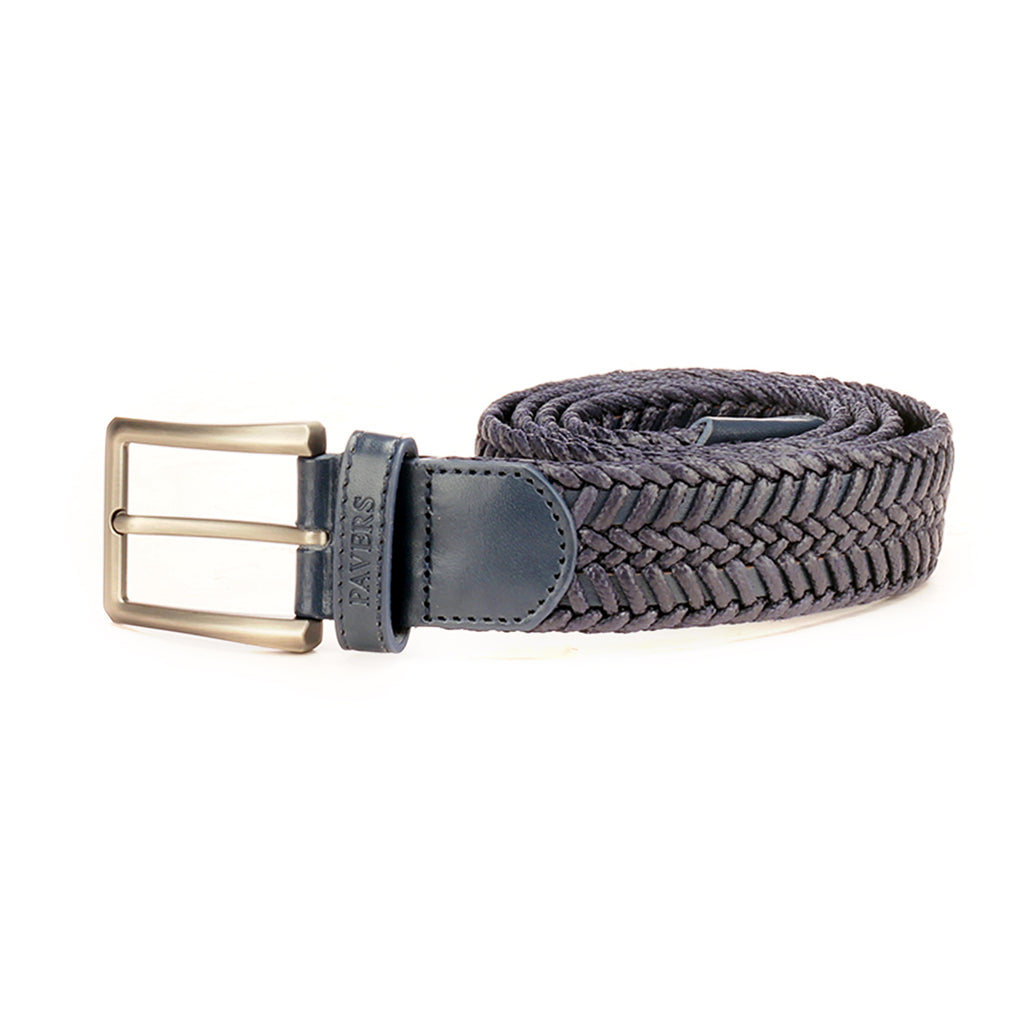 Braided Style Navy Leather Formal/Casual Waist Belt for Men