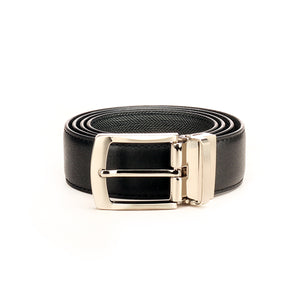 Black/Grey Leather Formal/Casual Waist Belt for Men - Belts - Pavers England