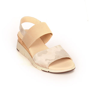 Leather Sandals with Medium Wedge Heel for Women - Smart - Pavers England
