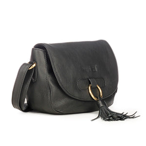 Leather Sling Bag with Tassels for Women-Black - Sling Bags - Pavers England