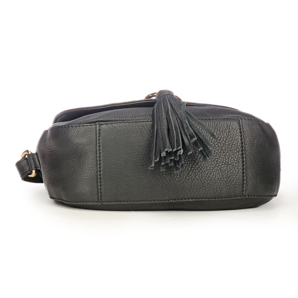 Leather Sling Bag with Tassels for Women-Black - Bags & Accessories - Pavers England